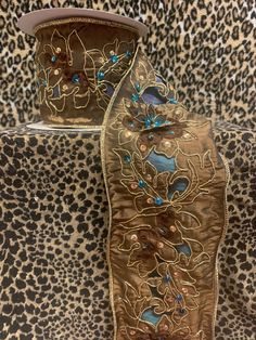 """Excited to share this item from my #etsy shop: Designer 4""""x10yards Ribbon, Chocolate Gold Turquoise, Jeweled Ribbon, Gilded and Embroidered Ribbon, Luxury Ribbon #designerribbon #jeweledribbon #4inchribbon #luxribbon #embroideredribbon #beadedribbon #designer #homedecor #wreathsupplies #crafters #bows #4inch #ribbon #designer #homedecor #google #instagram #seamstress #turquoise #chocolatebrown #wreathmakers Shabby Chic Fall, Candy Wreath, Fall Swags, Chocolate Gold, Velvet Pumpkins, Wreath Supplies, Deco Mesh, Sell On Etsy, Special Gifts"""