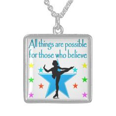 DREAM OF SKATING SQUARE PENDANT NECKLACE Beautiful figure skating jewelry for your Ice Princess. http://www.zazzle.com/mysportsstar/gifts?cg=196621838645756107&rf=238246180177746410 #figureskating #Figureskater #Figureskatinggifts #BorntoSkate #Loveskating #Skatingjewelry #Skaterjewelry