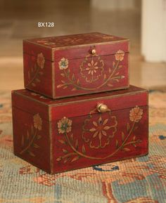 Wooden Painted Boxes Set of 2