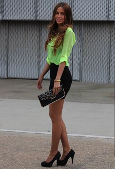 Fluor Shirt  , Blanco in Shirt / Blouses, Pull   & Bear in Skirts, Tino González in Heels / Wedges