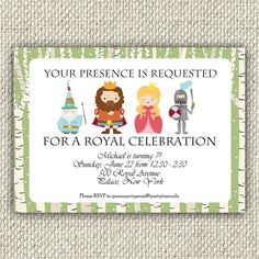 Royal Birthday Party Invitation, King, Queen, Knight, Boy Girl Royal Party, INSTANT DOWNLOAD, Royal Invitation, Knight and Princess Party