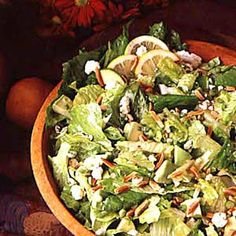 California Green Salad Recipe -This salad truly represents my state, since avocados and almonds are grown in such abundance here. I originated this recipe many years ago, and it's often requested by family and friends. It's a winner at our house!