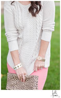 France Photography | Blog | Fashion Friday | Coral and Cream #coralskinnies #goldwatch #cream #sweater #curls #leatherboots #clutch