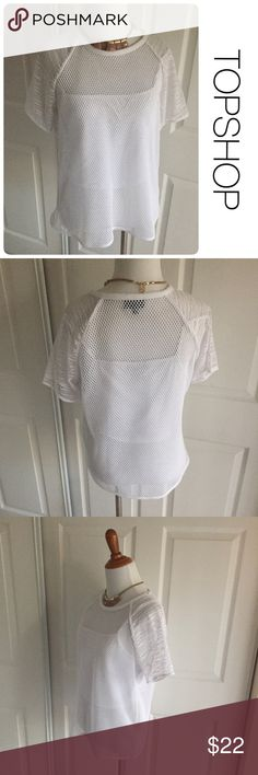 TOPSHOP white mesh and mixed material top size 8 ♦️Excellent condition. No holes, stains or piling.                                                  ♦️Materials- 100 polyester         ♦️Measurements:                                  ♦️Laying flat armpit to armpit: approximately 18 inches                                                   ♦️Laying flat from the back of the neck to the bottom of the front hem is approximately 22 inches Topshop Tops Tees - Short Sleeve