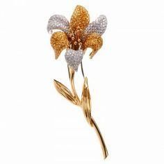 GARAVELLI 10.00cts Diamond Sapphire 18k Gold Floral Pin | Dover Jewelry