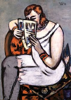 Woman in Chemise (also known as Reading) Max Beckmann - 1947