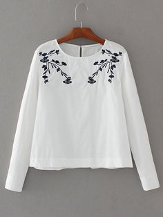 Blusa con bordado y espalda con abertura -Spanish SheIn(Sheinside)