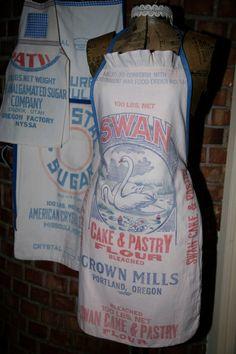 Vintage+Flour+Sack+Apron+Swan+Design+by+ReDezinedbyReBecca+on+Etsy,+$45.00