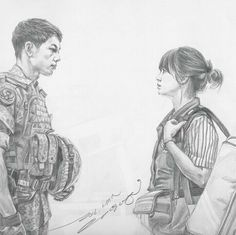 Descendents of the Sun - Fanart Sun Drawing, Drawing Sketches, Cartoon Drawings, Art Drawings, Doodle Cartoon, Desendents Of The Sun, Descendants Of The Sun Wallpaper, Cool Anime Girl, K Pop