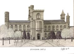 Smithsonian Castle Drawing   Artwork by my 87 year old Grandfather, Frederic Kohli.  It's truly amazing how wonderful these are despite being blind in one eye.  He is incredibly remarkable.