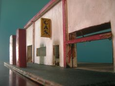 Vintage Folk Art Toy Gas Station Wooden Mantique Peteroliana  Car Automobile