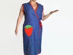 70's Wrap Dress Decorated with Tiny Strawberries and F lowers/ Large Strawberry Pocket on Etsy, $25.00