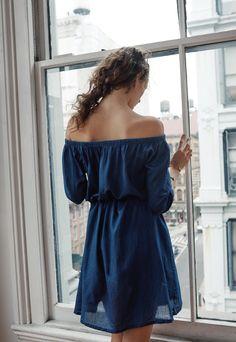 madewell indigo off-the-shoulder dress.