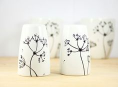 Hand Painted Ceramic Salt and Paper Shakers Queen Anne's Lace botanical design modern minimalist white Kitchen Decor Decorative Ceramic Art on Etsy, $35.00