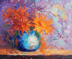 """Ikebana 4 - Burnt orange chrysanthemums palette knife painting"" - Original Fine Art for Sale - © Marion Hedger"