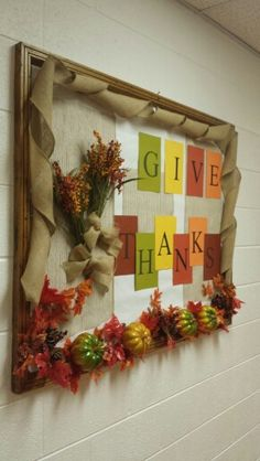 #Thanksgiving bulletin board I did at my church. I love it! #fall #crafty #givethanks