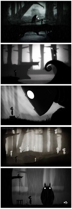 Limbo Crossovers: 1st: No Face from Spirited Away 2nd: Jack Skellington from Nightmare Before Christmas 3rd: Iron Giant 4th: Kodamas from Princess Mononoke 5th: My Neighbour Totoro