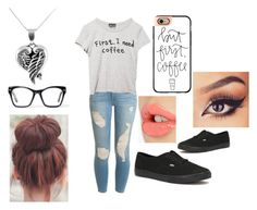 """""""Lazy Day!! Love Coffee!!☕️"""" by abbysnail2000 ❤ liked on Polyvore featuring Frame Denim, Wet Seal, Spitfire, Casetify, Jewel Exclusive, Vans and Charlotte Tilbury"""