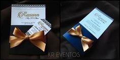Invitación azul y dorada