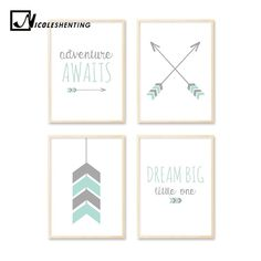 Arrow Cartoon Wall Art Canvas Poster Nursery Quote Prints Nordic Style Painting Wall Picture Kids Children Bedroom Decoration Colorful Picture Frames, Colorful Pictures, Large Canvas Art, Canvas Wall Art, Living Room Prints, Shape Posters, Nursery Quotes, Cartoon Wall, Home Remodeling Diy