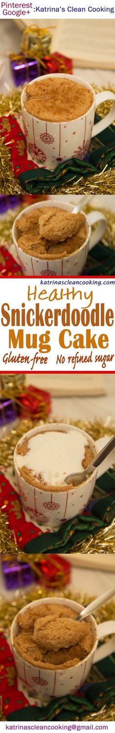 Healthy Snickerdoodle Mug Cake: refined-sugar-free, eggless, no butter/oil, can be gluten-free! 5 minutes to whip up in the microwave OR oven version! Cake Sizes And Servings, Cake Servings, Healthy Cooking, Healthy Snacks, Healthy Recipes, Mug Recipes, Free Recipes, Dairy Free Alternatives, Dairy Free Milk
