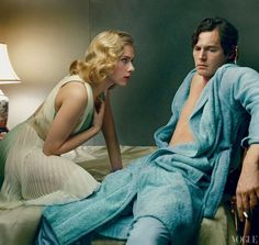 """Scarlett Johansson and Benjamin Walker Photographed by Annie Leibovitz for the """"Fire and Ice: Scarlett Johansson and Benjamin Walker Star in Broadway's Cat on a Hot Tin Roof"""" editorial, Vogue, January 2013."""