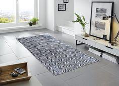 Honeycomb Pattern   Blue & Grey   Contemporary Floor Mats   Non-Skid Floor Mats   Studio 67 Floor Mats   Stylish Floor Mats   Designer Floor Mats