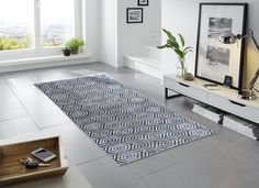Honeycomb Pattern | Blue & Grey | Contemporary Floor Mats | Non-Skid Floor Mats | Studio 67 Floor Mats | Stylish Floor Mats | Designer Floor Mats