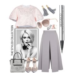 Pink and Grey by grinevagh on Polyvore featuring Delpozo, Vilshenko, Rene…