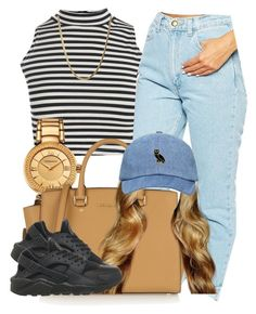 """""""."""" by trillest-queen ❤ liked on Polyvore featuring Boohoo, American Apparel, Versace, MICHAEL Michael Kors and NIKE"""