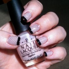 OPI Sweet Heart with Konad stamper #m57 and Black Tips