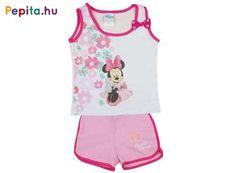 Disney Minnie lányka 2 részes virágos trikó/short szett  Eredeti Disney termék 1db glitteres Minnie mintával, virágokkal nyomott lányka trikó 1db glitteres Minnie mintával nyomott, gumis derekú lányka short  Anyaga: 100 % pamut Minőség: I. osztály Gyártó: Andrea Kft., Magyarország, EU  A termékeknél megadott életkor irányadó! Lany, Graphic Tank, Minnie Mouse, Onesies, Rompers, Disney, Tank Tops, Kids, Clothes