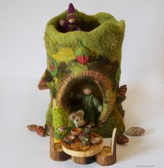 Big Mossy Felt Tree Fort with Table and Chairs by willodel on Etsy, $144.00