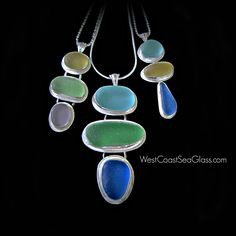 Sea glass necklaces! Beach softened, historic glass pieces, tumbled into soft shapes and set into fine silver jewelry from www.WestCoastSeaGlass.com