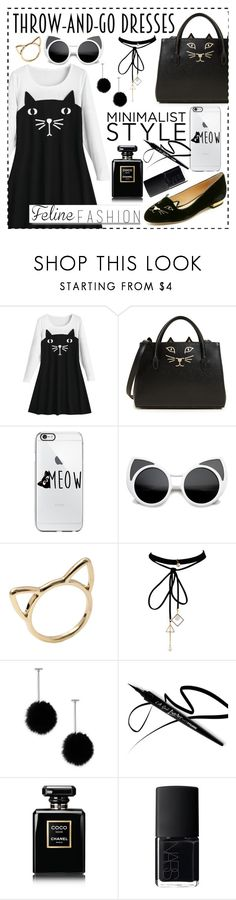"""""""The Cat's Meow: Feline Fashion😻 (Black and White Casual Style)"""" by ailaaaa07 ❤ liked on Polyvore featuring Charlotte Olympia, WithChic, Tuleste, Chanel, NARS Cosmetics and White Label"""