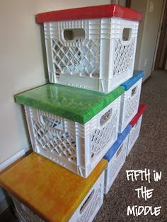 Milk Crate Seats is part of Classroom Organization Crates - Milk crate seats provide alternate seating and more storage space Milk Crate Chairs, Crate Bench, Crate Seating, Milk Crate Furniture, Milk Crate Storage, Crate Shelves, Plastic Milk Crates, Plastic Bins, Plastic Bottles