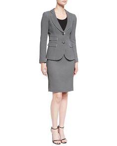 -667L Armani Collezioni  Chevron Jacquard Blazer, Black Chevron Jacquard Pencil Skirt, Black