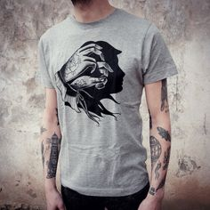 MENS t shirt with Hand Shadow - Woman Face traditional tattoo print. Screen printing on high quality t shirt with a soft touch cotton. Color