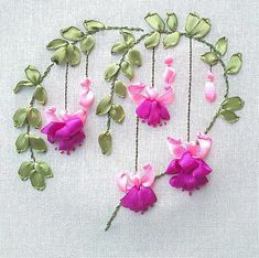 Wonderful Ribbon Embroidery Flowers by Hand Ideas. Enchanting Ribbon Embroidery Flowers by Hand Ideas. Ribbon Embroidery Tutorial, Hand Embroidery Flowers, Types Of Embroidery, Silk Ribbon Embroidery, Hand Embroidery Patterns, Diy Embroidery, Embroidered Flowers, Embroidery Stitches, Ribbon Art