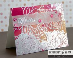 Use our Peony Garden cling mounted red rubber stamp to create some floral backgrounds on your papercrafts! - 6x6 inches - 1 Cling Mounted Red Rubber Background Stamp - Made of high quality red rubber