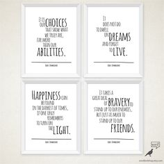 Albus Dumbledore 4 Quote Set, Happiness Quote, Typography Art Print, Harry Potter decor, harry potter poster by WordBirdShop on Etsy https://www.etsy.com/listing/188878826/albus-dumbledore-4-quote-set-happiness