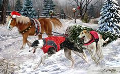 """New for 2015!  Borzoi Christmas Holiday Cards are 8 1/2"""" x 5 1/2"""" and come in packages of 12 cards. One design per package. All designs include envelopes, your personal message, and choice of greeting. Select the inside greeting of your choice from the menu below.Add your custom personal message to the Comments box during checkout."""