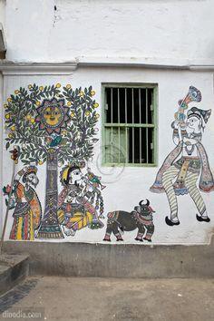 Painting on Wall Madhubani Bihar India Madhubani Art, Madhubani Painting, Fresco, Indian Paintings, Wall Paintings, Painting Canvas, Wall Canvas, Indian Folk Art, Muse Art