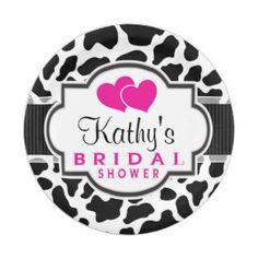 Black, White, & Pink Cowhide Bridal Shower 7 Inch Paper Plate