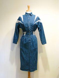 Amazing Vintage 1980s Denim and Snake Print Wiggle Dress.