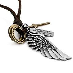 Men's Alloy Genuine Leather Pendant Necklace Silver Gold Brown Cross Angel Wing Vintage Adjustable 16~26 Inch Chain (with Gift Bag) - http://steampunkvapemod.com/mens-alloy-genuine-leather-pendant-necklace-silver-gold-brown-cross-angel-wing-vintage-adjustable-1626-inch-chain-with-gift-bag/