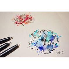 파란 하이비스커스 비가 많이오는 날엔 도안그리기 #tattoo #tattoopeople #busan #design #drawing…