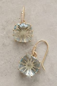 14k Gold Topaz Hook Earrings