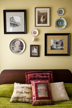 Framing Idea #21- I found this on Design Sponge, This is the one of our artist Kathryn Hunter's framing design in her home in baton rouge. It is simply beautiful~
