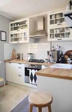 60 Awesome Scandinavian Kitchen Decor and Design Ideas - InsideDecor Home Decor Kitchen, Country Kitchen, Kitchen Furniture, New Kitchen, Home Kitchens, Kitchen Ideas, Kitchen Decorations, Kitchen Cabinet Design, Modern Kitchen Design